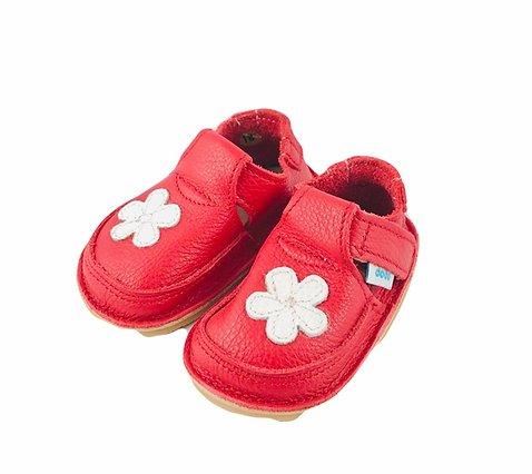 Pantofi rosii cu floare alba, Dodo Shoes 1