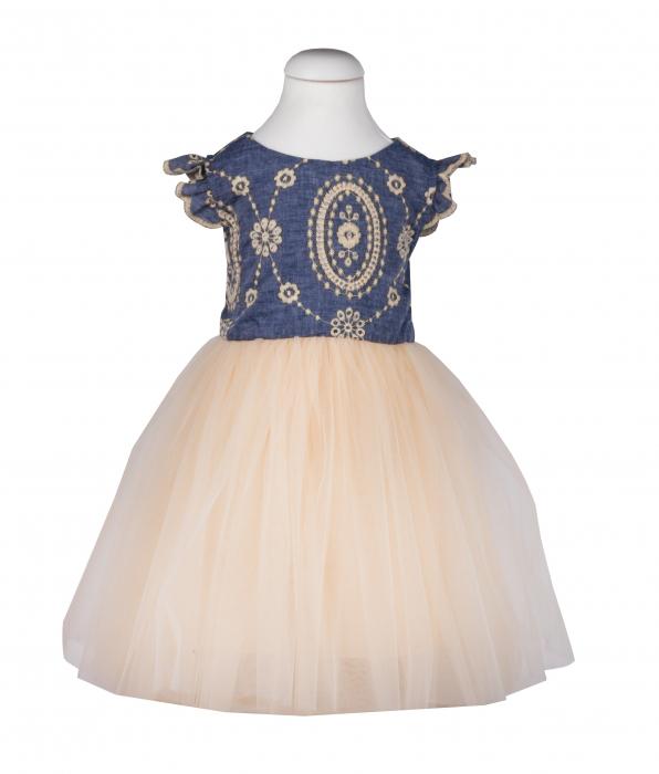 Rochie cu fusta de tulle crem si blug brodat, TinTin Shop 0