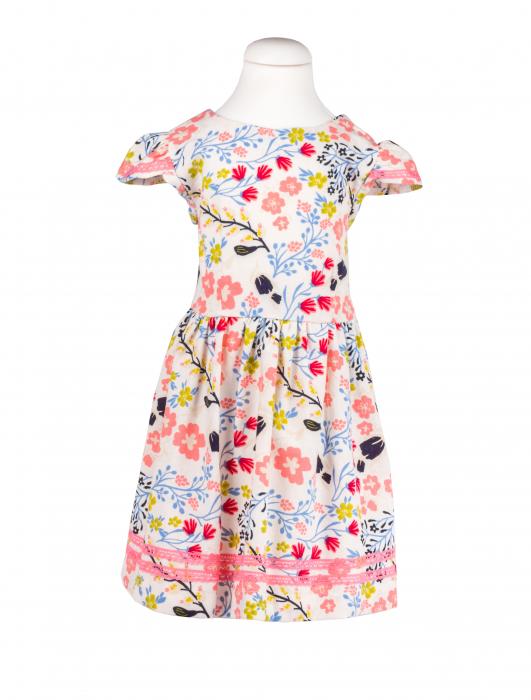 Rochie din In alba cu flori, TinTin Shop, 0