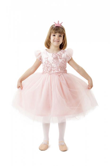 Rochie roz de printesa, ampla, cu fusta din tulle, TinTin Shop [0]