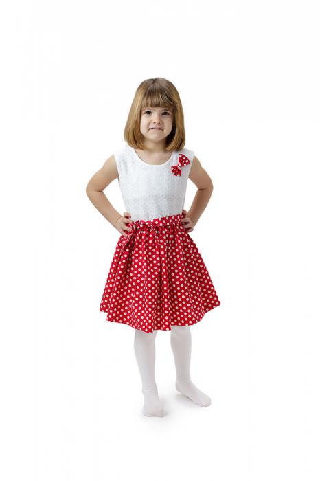 Rochie fete Minnie, rosie cu buline albe si top alb, TinTin Shop 0