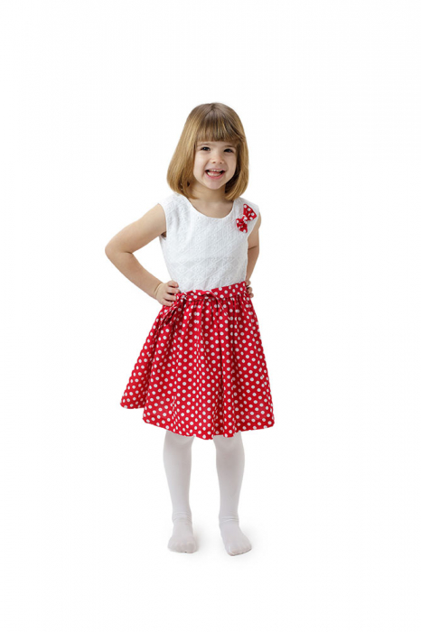 Rochie fete Minnie, rosie cu buline albe si top alb, TinTin Shop 2