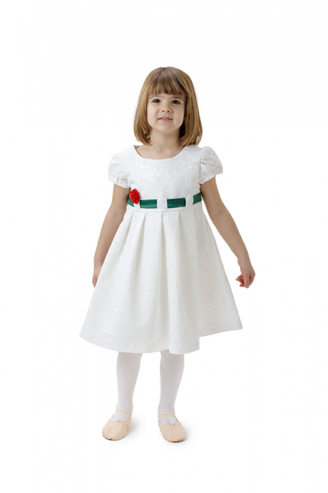 Rochie fete alba cu cordon verde,TinTin Shop 1