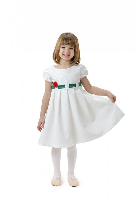 Rochie fete alba cu cordon verde,TinTin Shop 0