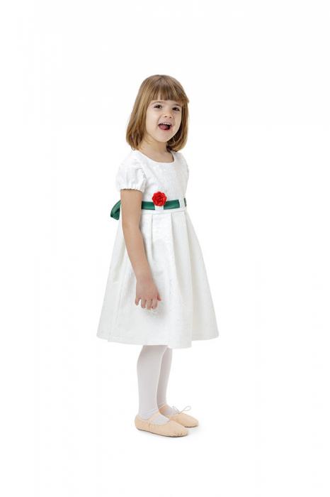 Rochie fete alba cu cordon verde,TinTin Shop 3