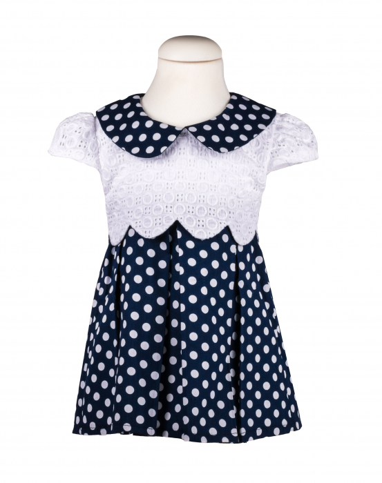 Rochie bleumarin cu buline albe, TinTin Shop 0
