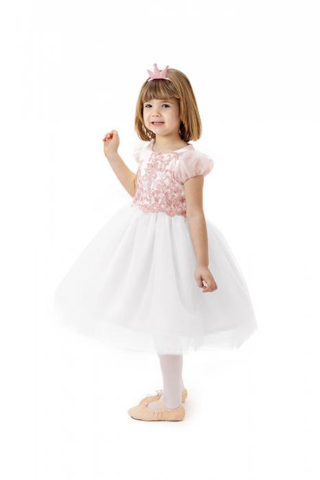 Rochie roz cu alb de printesa, ampla, cu fusta din tulle, TinTin Shop [0]