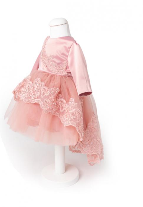 Rochie botez roz trena [0]