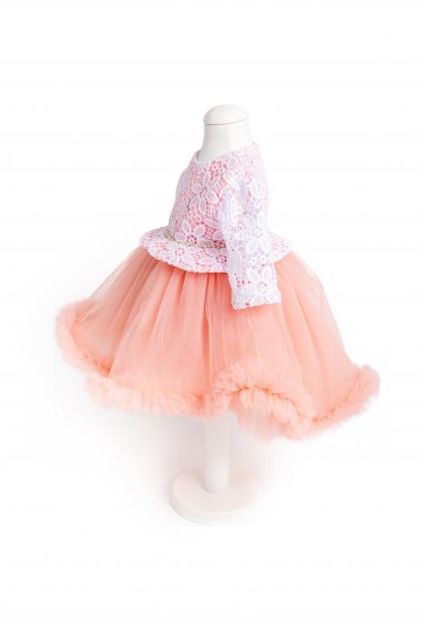 Rochie botez roz trena 0