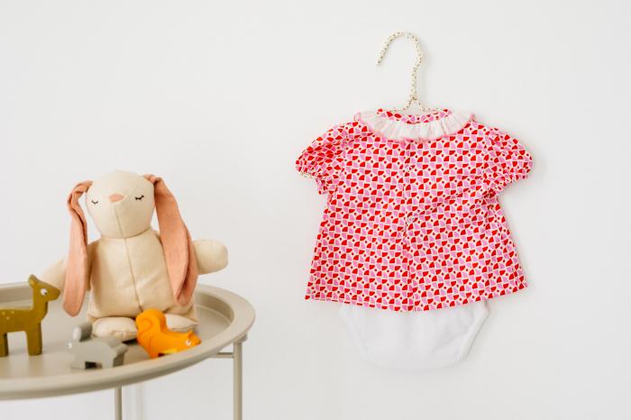 Body rochita pentru fete, rosu cu roz, TinTin Shop [1]