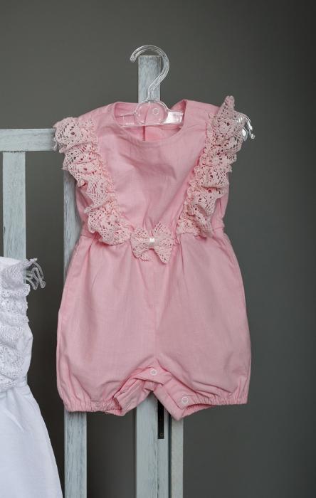 Salopeta roz din in pentru bebelusi, TinTin Shop 0