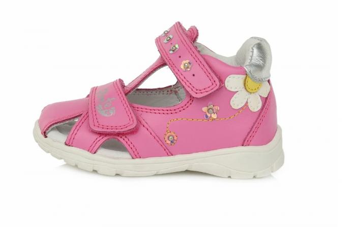 Sandale pentru Fete de Culoarea Roz cu flori, D.D.Step 0