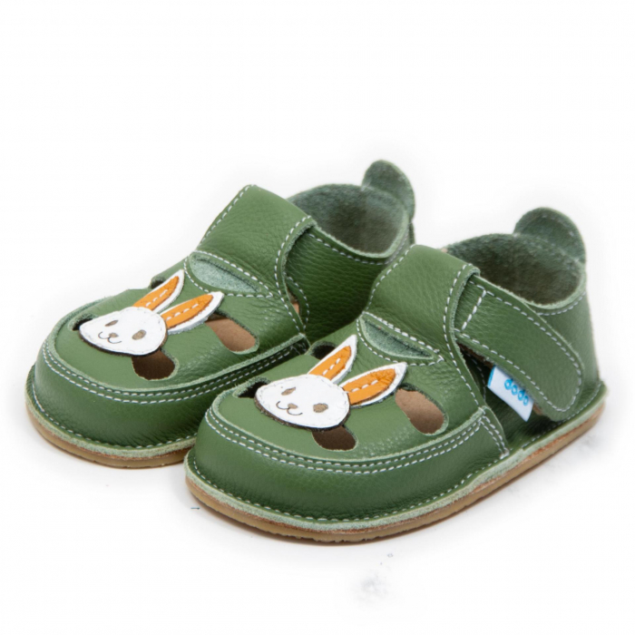 Sandale verzi cu iepuras, Dodo Shoes 1