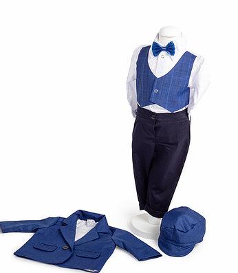 Set botez Mickey, compus din costum bleumarin, trusou brodat, lumânare [1]