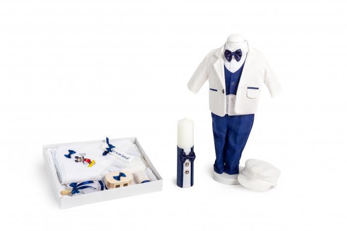 Set botez Mickey, compus din: costum alb, trusou brodat, lumânare 0