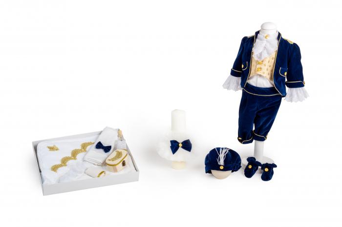 Set botez Micul Prinț, din catifea albastră 0