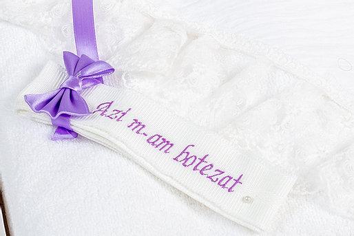 Trusou botez TinTin Shop, Princess, fașă brodata, alb/mov deschis 1