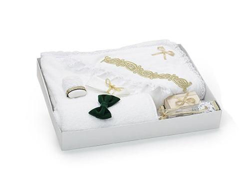 Trusou pentru botez Micul Print, cu accesorii aurii si verzi, TinTin Shop [0]