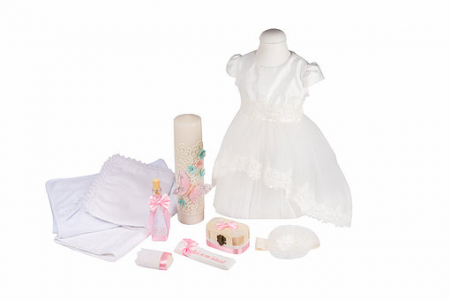 Set botez Princess basic, compus din rochie cu trena, trusou și lumânare TinTin Shop