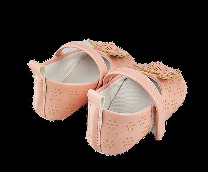 Balerini Baby roz pudra cu fluturas2
