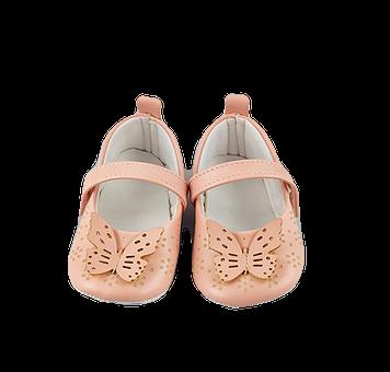 Balerini Baby roz pudra cu fluturas1