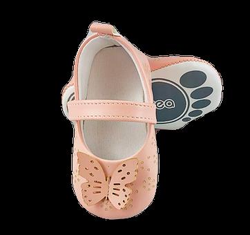 Balerini Baby roz pudra cu fluturas0