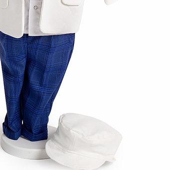 Costum alb cu pantaloni albaștri în carouri, TinTin Shop1