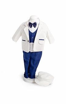 Costum alb cu pantaloni albaștri în carouri, TinTin Shop [0]