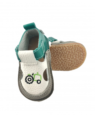 Sandale gri cu calcai verde si tractor, Macco0