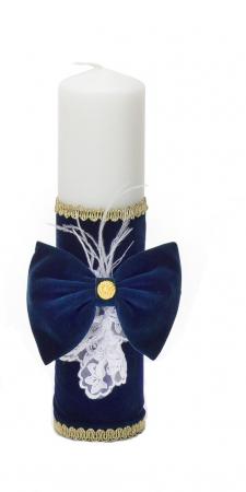 Lumânare din Catifea Bleumarin, pentru Botez Micul Print, TinTin Shop1