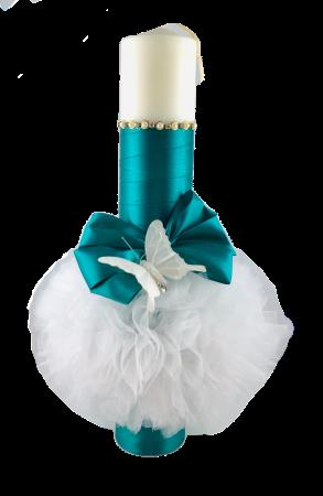 Lumânare pentru botez verde TinTin Shop, satinata