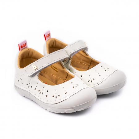 Pantofi Bibi Grow II albi perforati