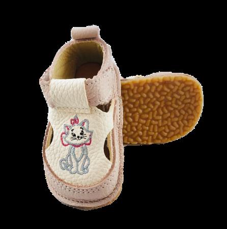 Sandale fete roz pudra cu pisicuța