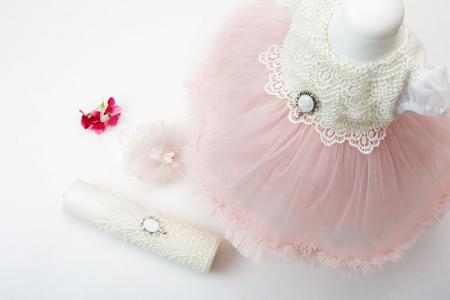 Rochie de Botez pentru Fetite, stil Printesa, roz pudra, TinTin Shop [2]
