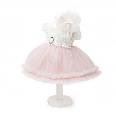 Rochie de Botez pentru Fetite, stil Printesa, roz pudra, TinTin Shop [0]