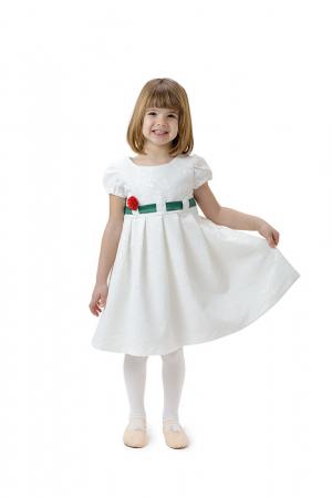 Rochie fete alba cu cordon verde, eleganta, TinTin Shop0