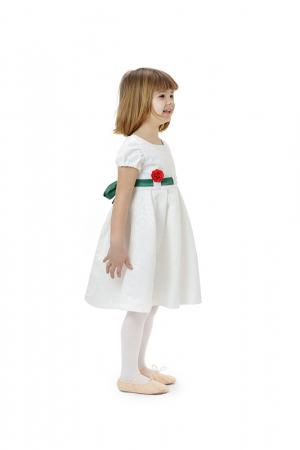 Rochie fete alba cu cordon verde, eleganta, TinTin Shop2