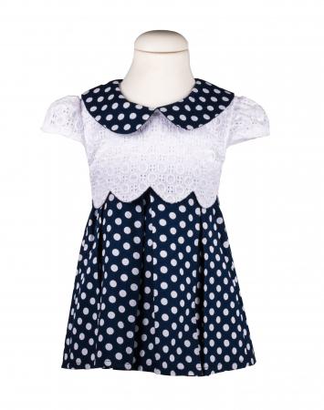 Rochie bleumarin cu buline albe, TinTin Shop