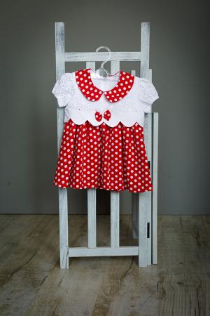 Rochie fetite Minnie, rosie cu buline albe, TinTin Shop