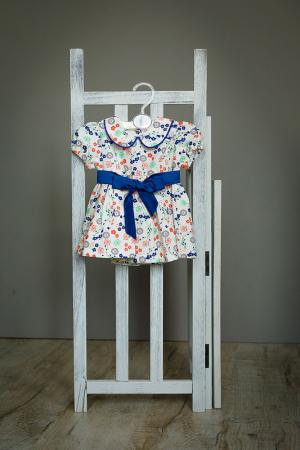 Rochie fetite alba cu flori colorate si cordon albastru, TinTin Shop [0]