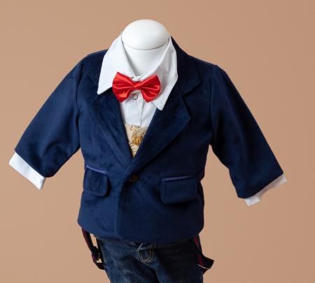 Sacou din Catifea Bleumarin, pentru Bebelusi, TinTin Shop1