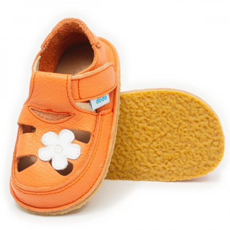Sandale copii corai cu floare alba, Dodo Shoes