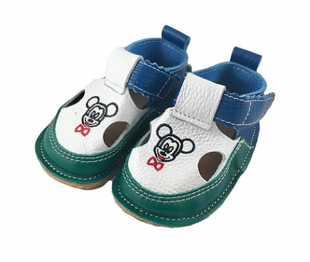 Sandale verzi cu calcai albastru Mickey, Macco [1]