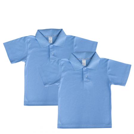 Set 2 bluze polo maneca scurta copii, albastru deschis, TinTin Shop