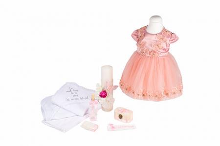 Set botez Siena basic, compus din rochie, trusou și lumânare, TinTin Shop0