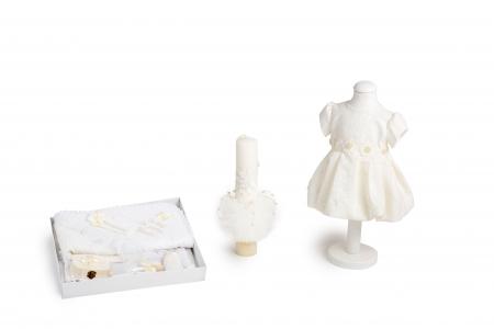 Set botez Elle cu perle, compus din rochie, trusou și lumânare, TinTin Shop