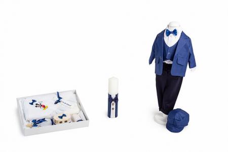 Set botez Mickey, compus din costum bleumarin, trusou brodat, lumânare [0]