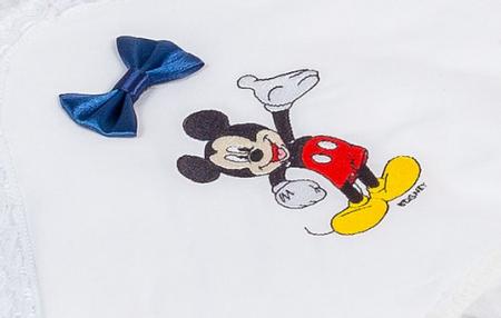 Set botez Mickey, compus din: costum alb, trusou brodat, lumânare2