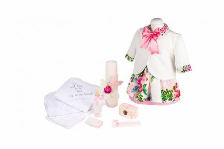 Set botez Joy basic, compus din rochie, pelerina, trusou și lumânare TinTin Shop0