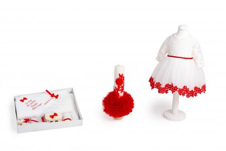 Set botez Margaret, roșu, compus din rochie, trusou și lumânare, TinTin Shop0